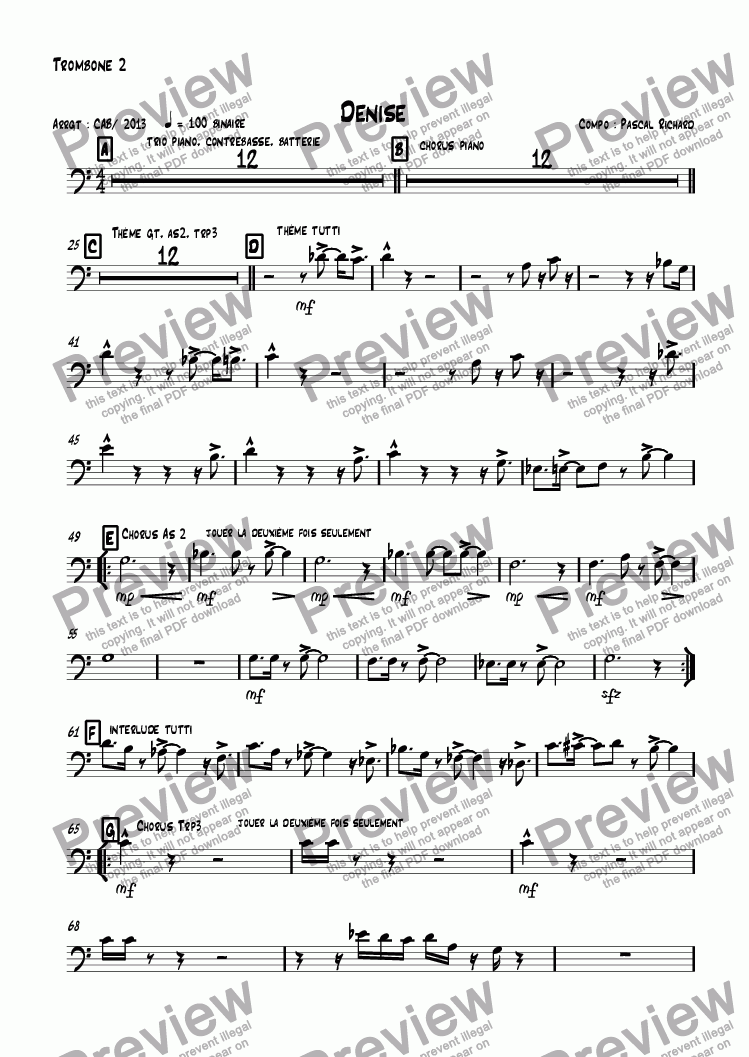 page one of the Trombone 2 part from Denise