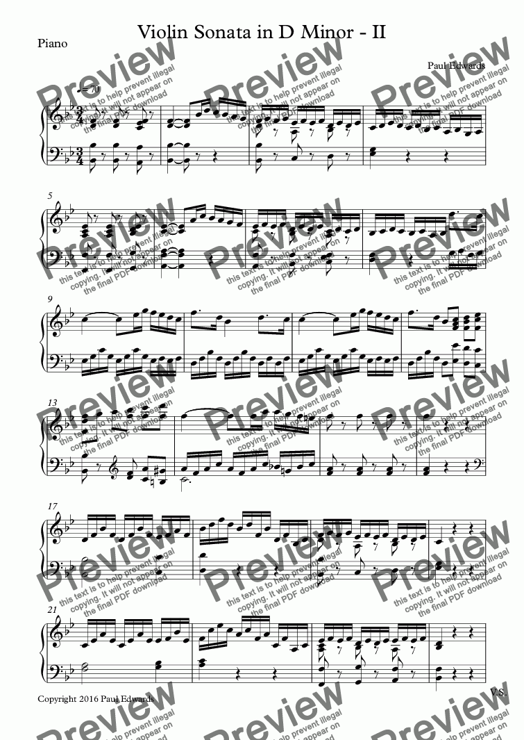 page one of the Piano part from Violin Sonata in D Minor - II