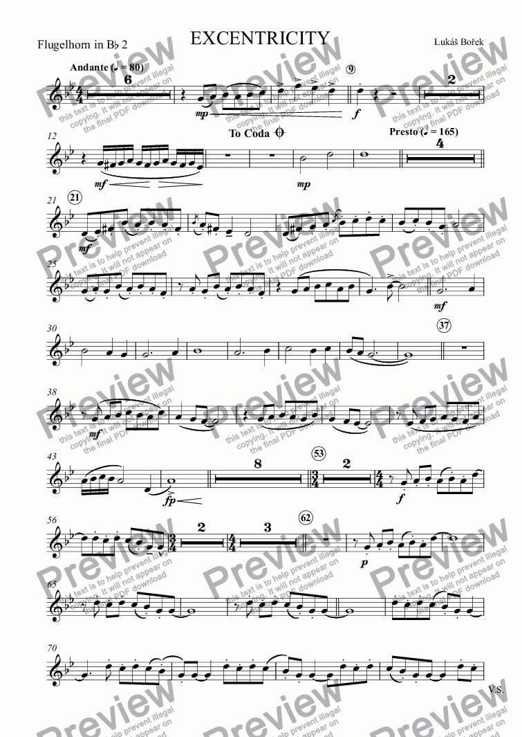 page one of the Flugelhorn in B^b 2 part from EXCENTRICITY (Eccentricities)