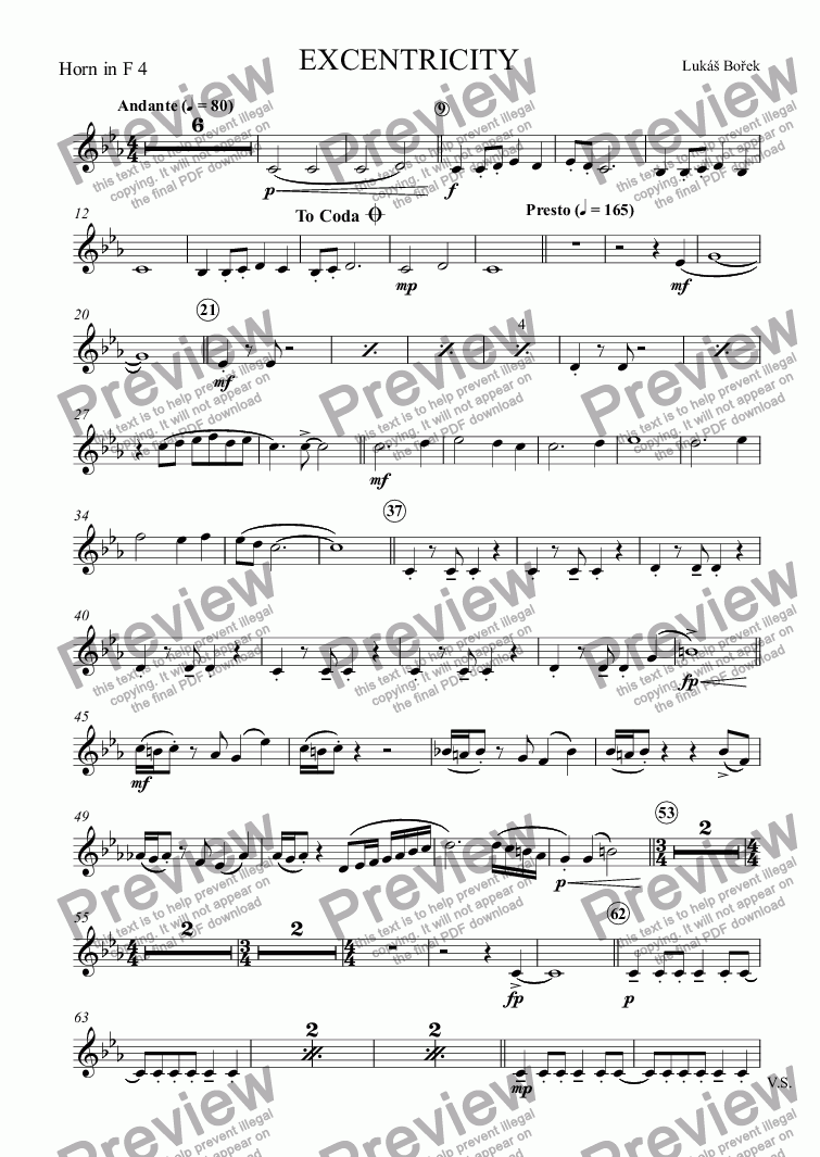 page one of the Horn in F 4 part from EXCENTRICITY (Eccentricities)