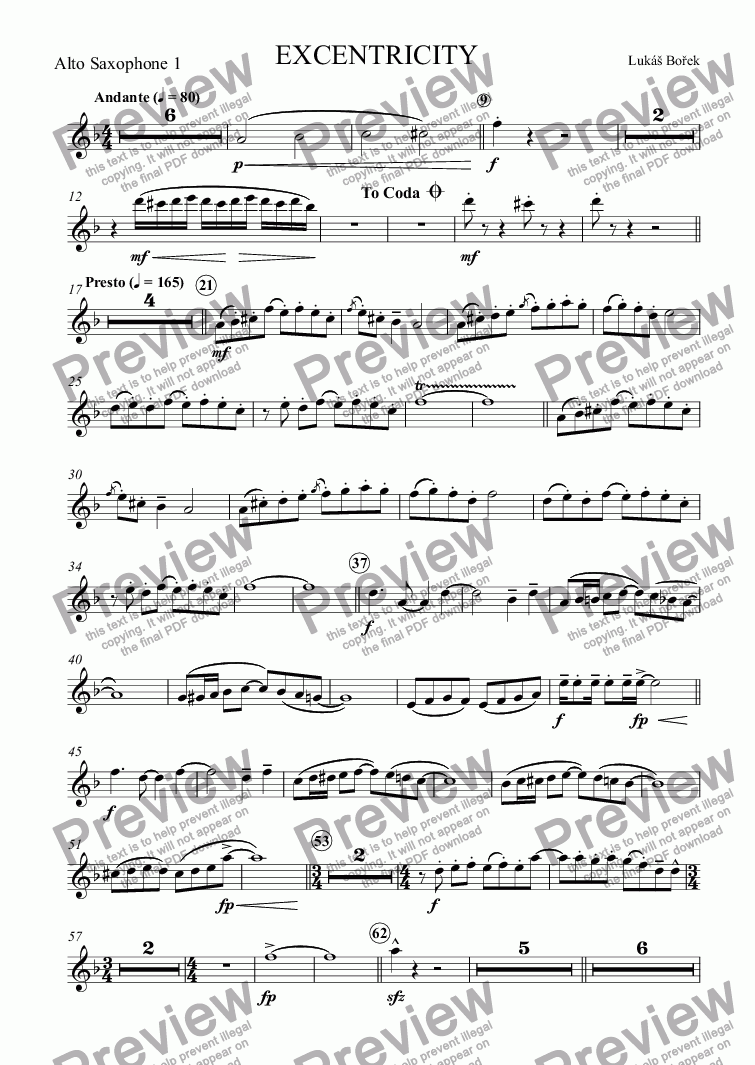 page one of the Alto Saxophone 1 part from EXCENTRICITY (Eccentricities)