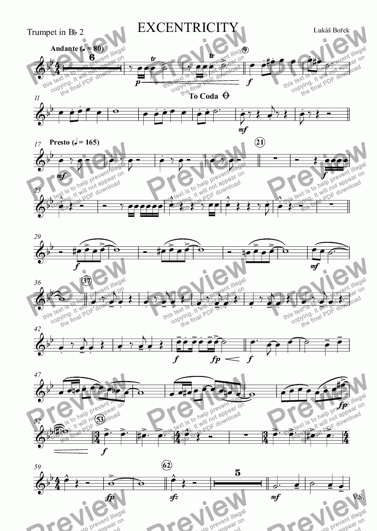 page one of the Trumpet in B^b 2 part from EXCENTRICITY (Eccentricities)