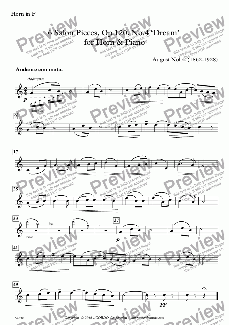 page one of the Horn in F part from 6 Salon Pieces, Op.120, No.4 'Dream'  for Horn & Piano