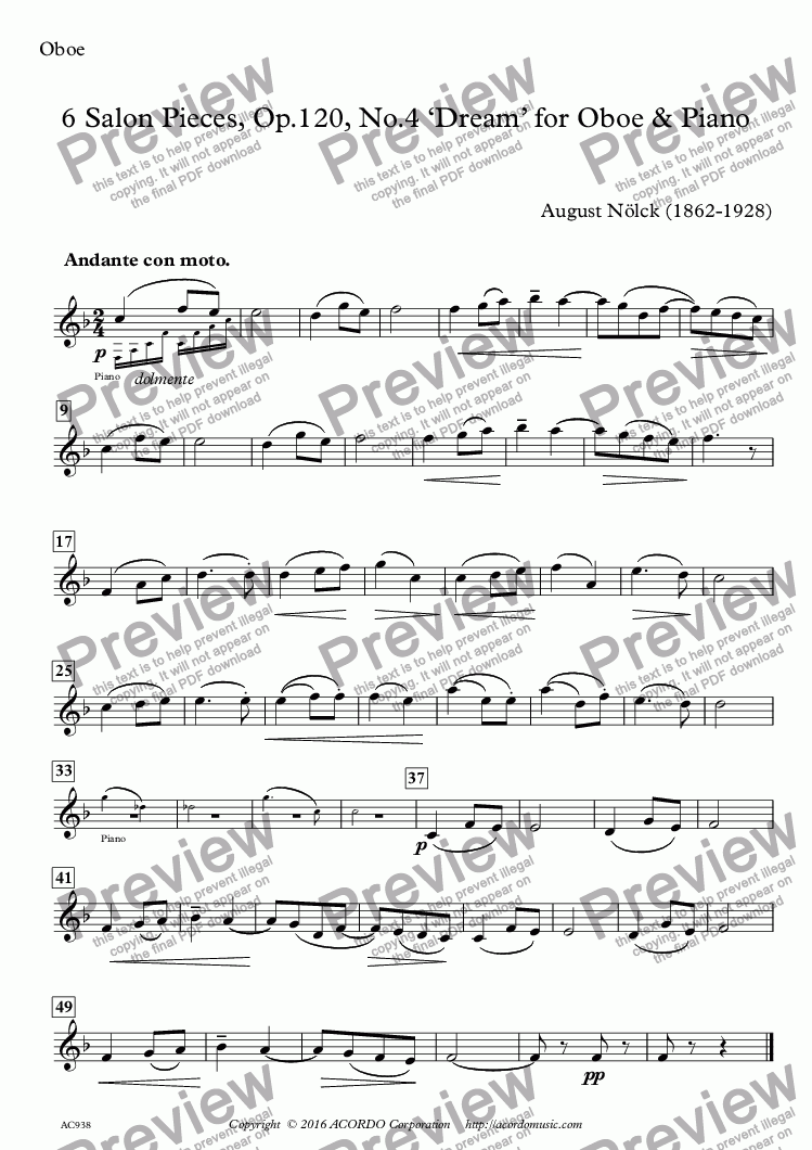 page one of the Oboe part from 6 Salon Pieces, Op.120, No.4 'Dream' for Oboe & Piano