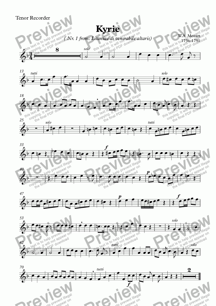 page one of the Tenor Recorder part from Kyrie (Mozart)