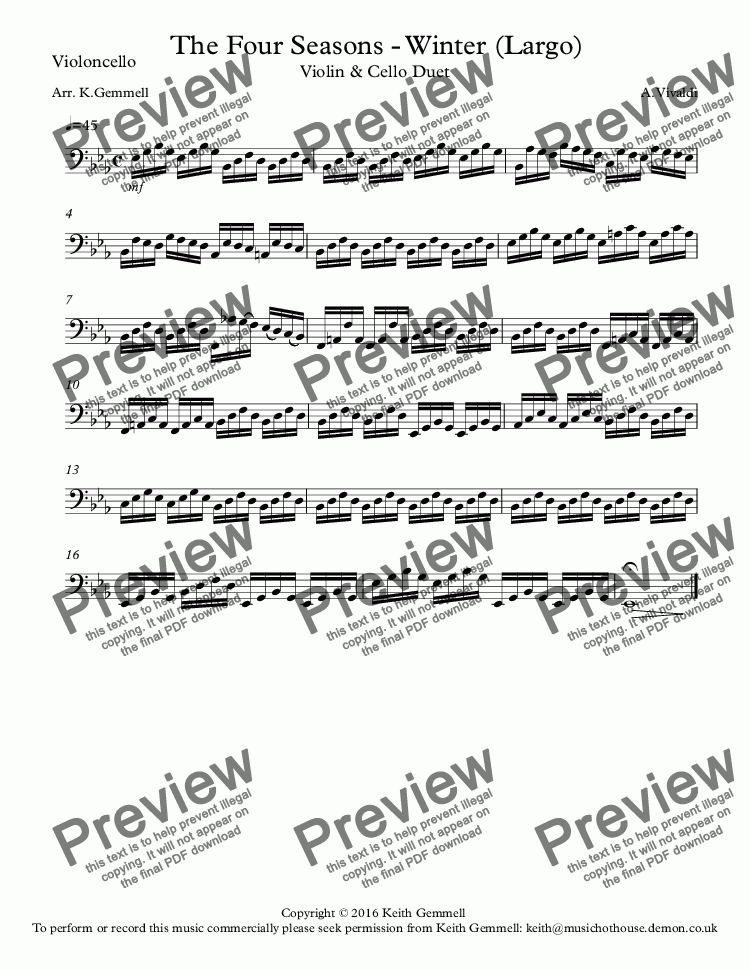 page one of the Violoncello part from Winter - The Four Seasons (Largo):Violin & Cello Duet