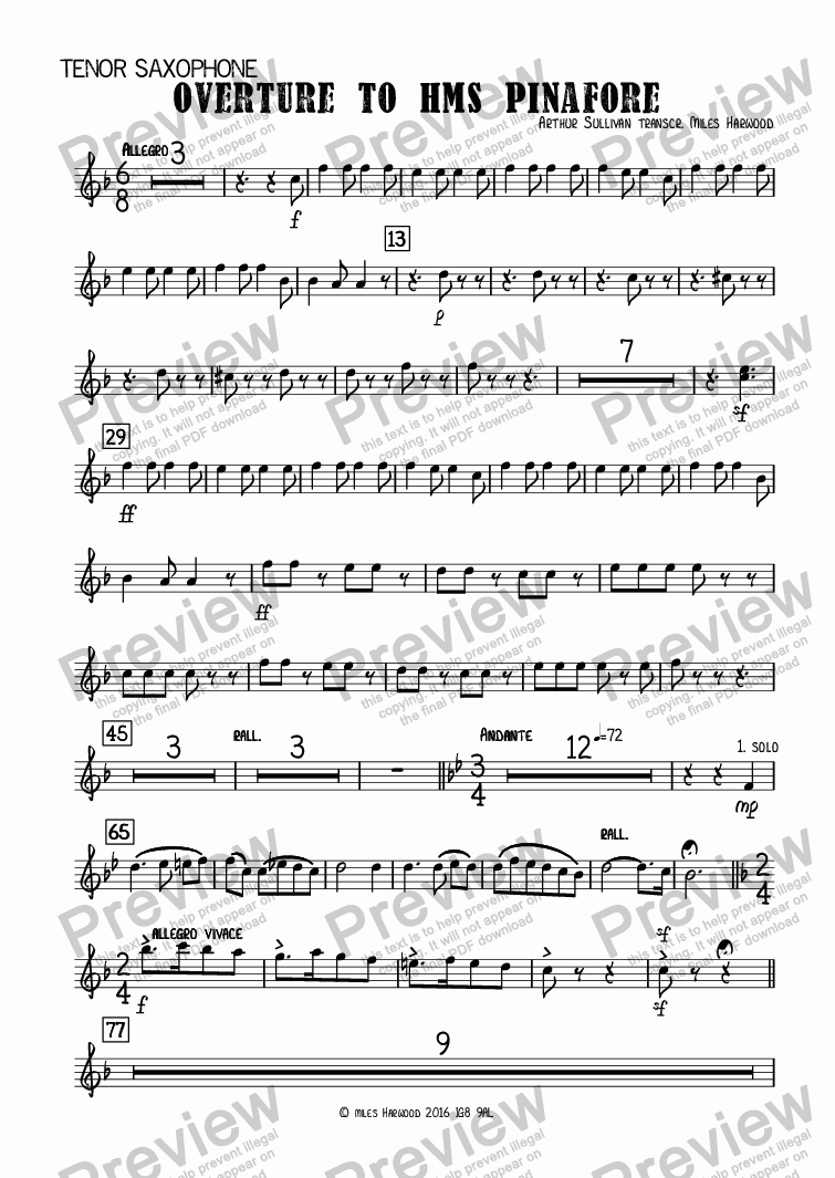 page one of the Tenor Saxophone part from Overture to 'HMS Pinafore'