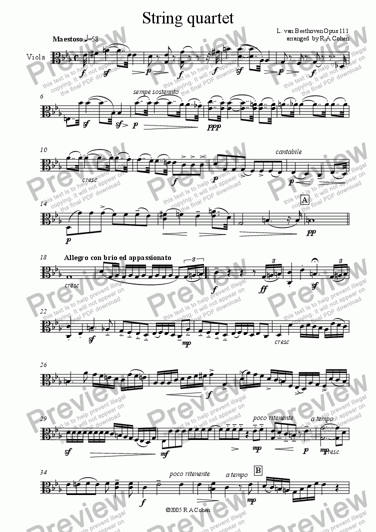 page one of the viola part from Beethoven - STRING QUARTET OPUS 111