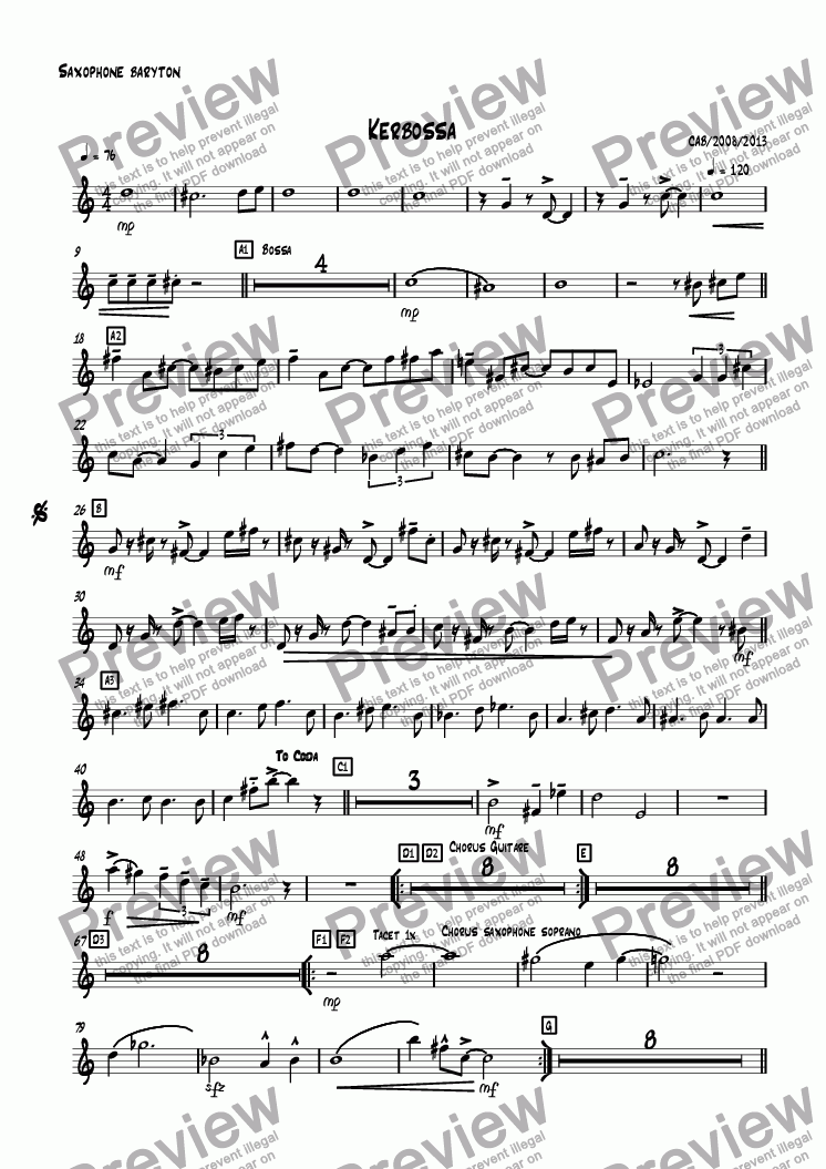 page one of the Saxophone baryton part from Kerbossa