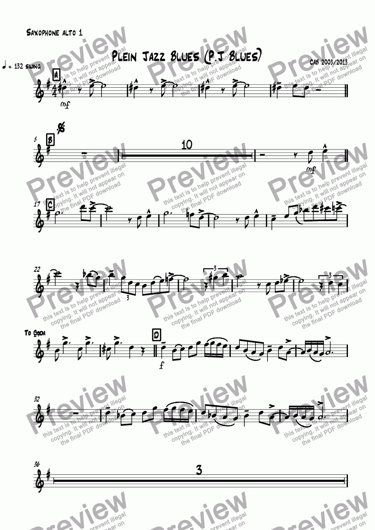 page one of the Saxophone alto 1 part from Plein Jazz Blues (P.J Blues)