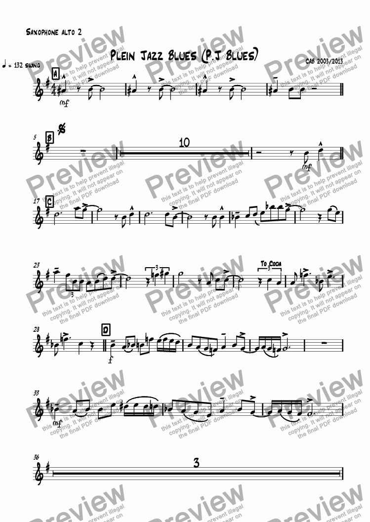 page one of the Saxophone alto 2 part from Plein Jazz Blues (P.J Blues)