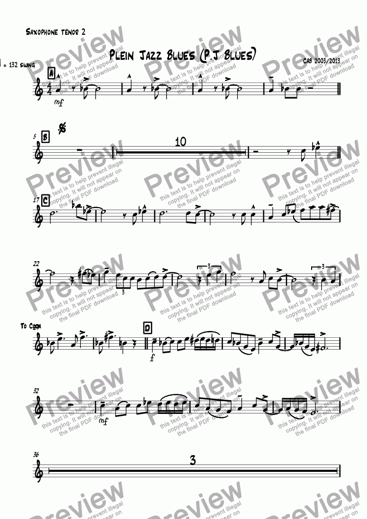 page one of the Saxophone ténor 2 part from Plein Jazz Blues (P.J Blues)