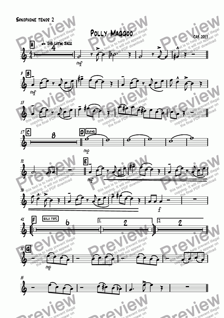page one of the Saxophone ténor 2 part from Polly Maggoo