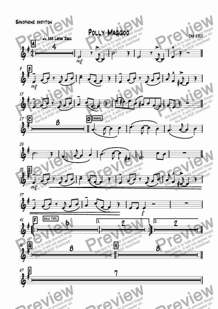 page one of the Saxophone baryton part from Polly Maggoo