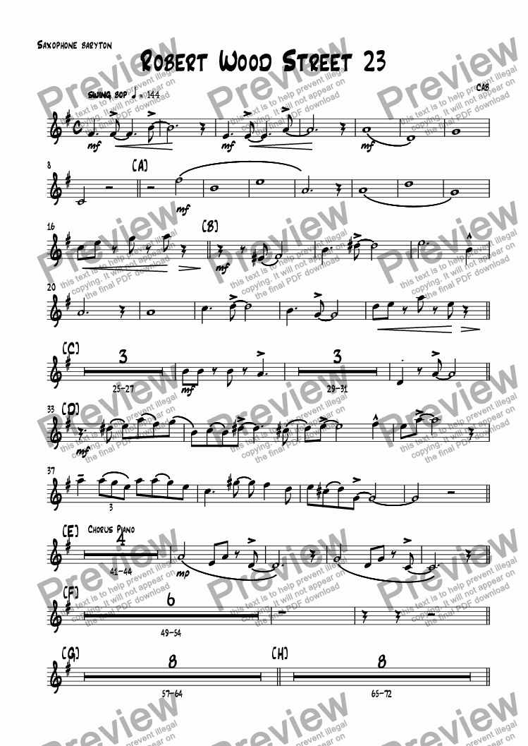page one of the Saxophone baryton part from Robert Wood Street 23
