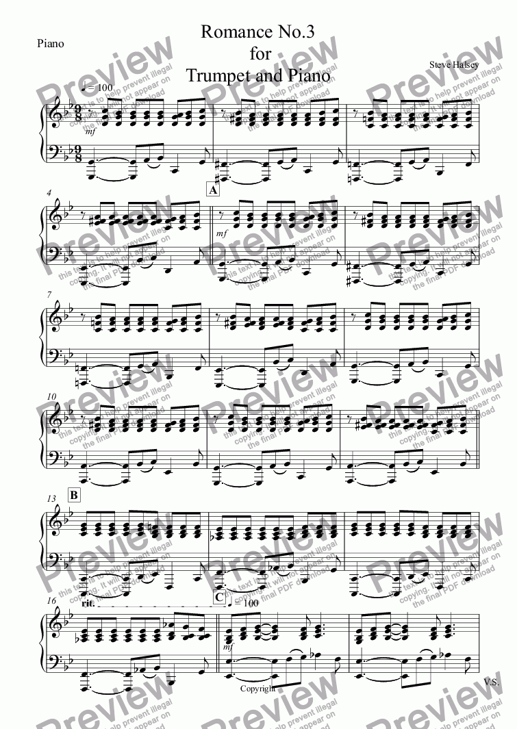 page one of the Piano part from Romance No.3  for  Trumpet and Piano