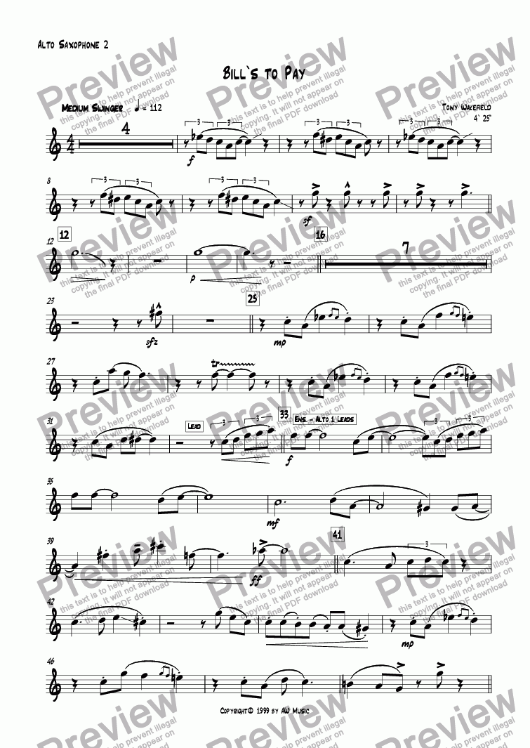 page one of the Alto 2 part from Bill's to Pay