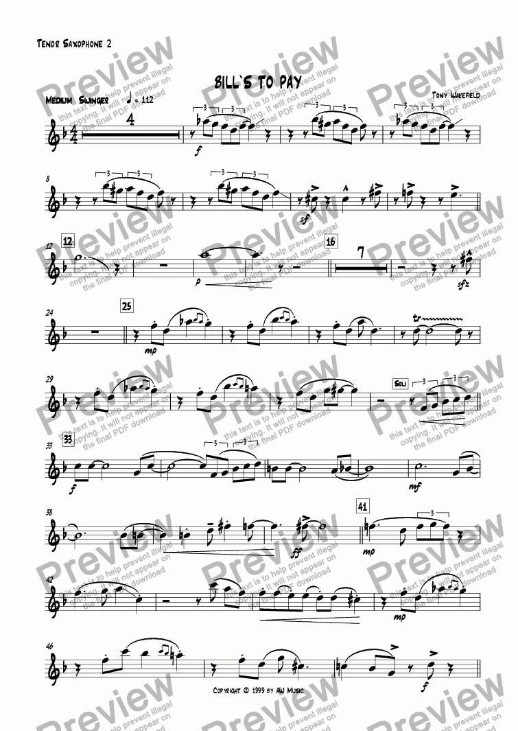 page one of the Tenor 2 part from Bill's to Pay