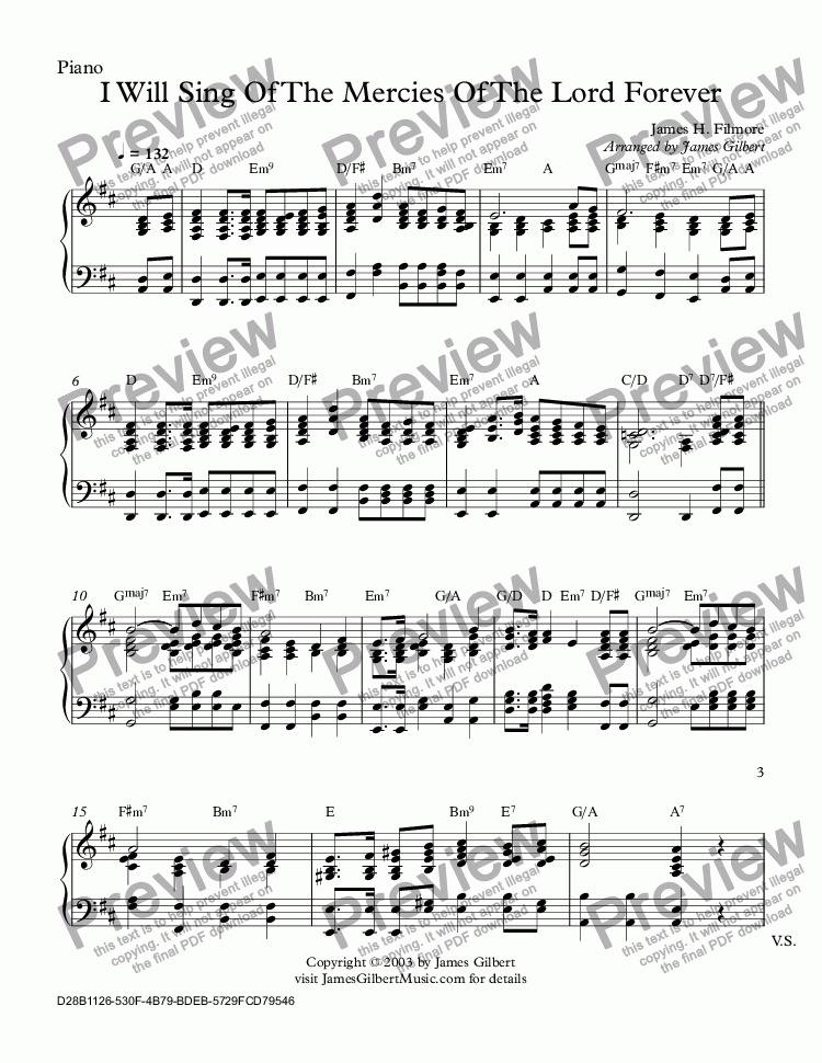 page one of the Piano part from I Will Sing Of The Mercies Of The Lord Forever