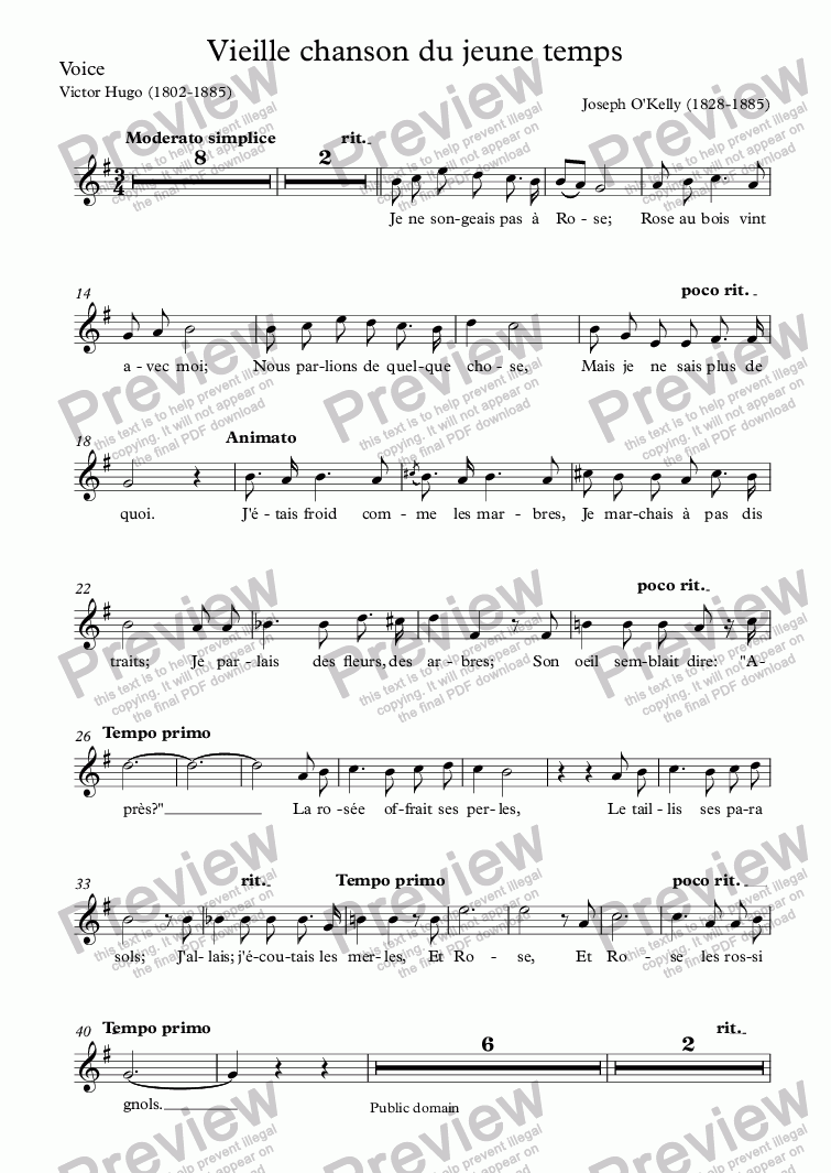 page one of the Voice part from Vieille chanson du jeune temps (Joseph O'Kelly / Victor Hugo)
