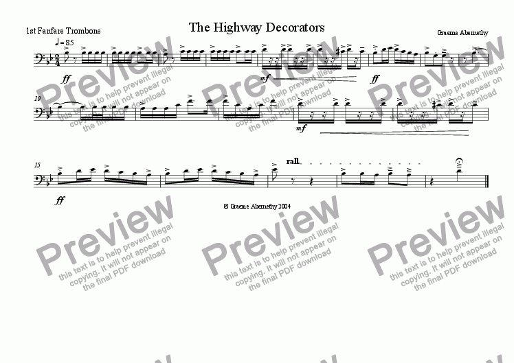 page one of the Trombone 1 part from Fanfare - The Highway Decorators
