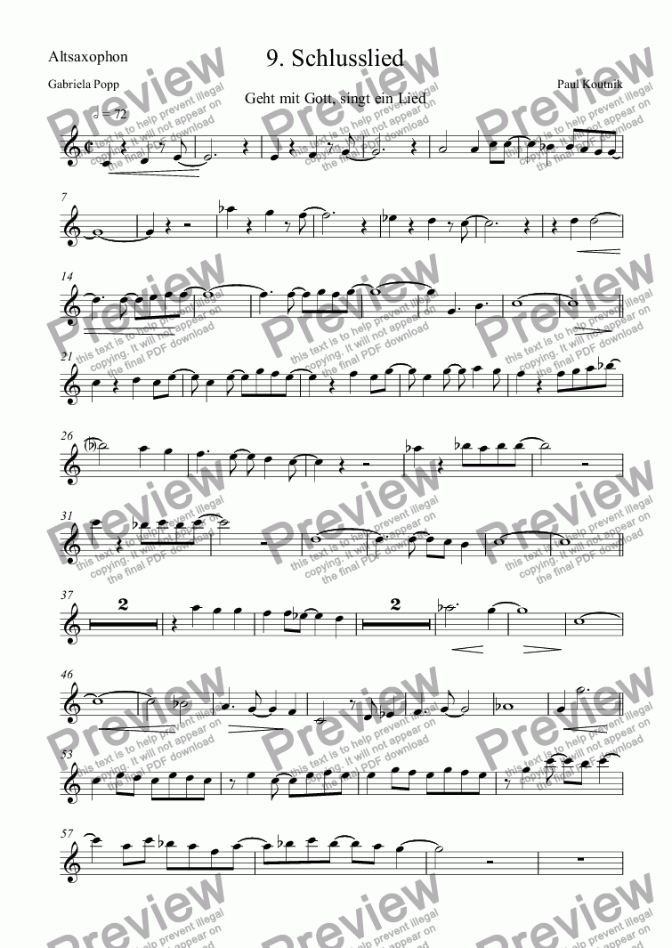 page one of the Altsaxophon part from 9. Schlusslied
