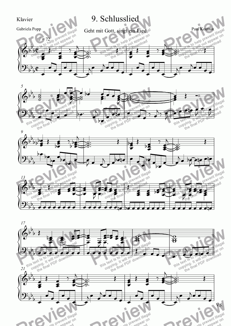 page one of the Klavier part from 9. Schlusslied