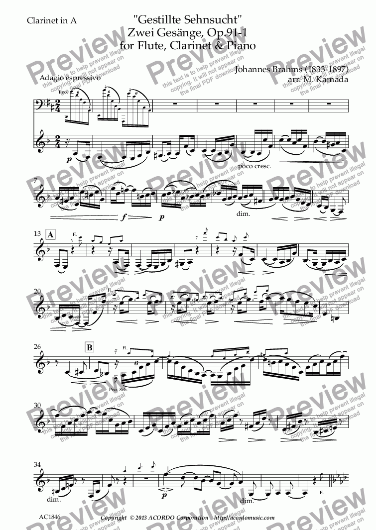page one of the Clarinet in A part from 'Gestillte Sehnsucht' Zwei Gesänge, Op.91-1  for Flute, Clarinet & Piano
