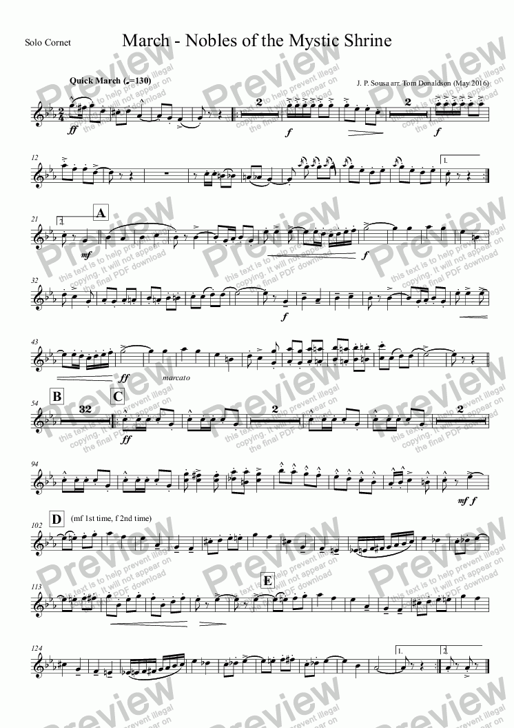 page one of the Solo Cornet part from BRASS BAND - March - Nobles of the Mystic Shrine