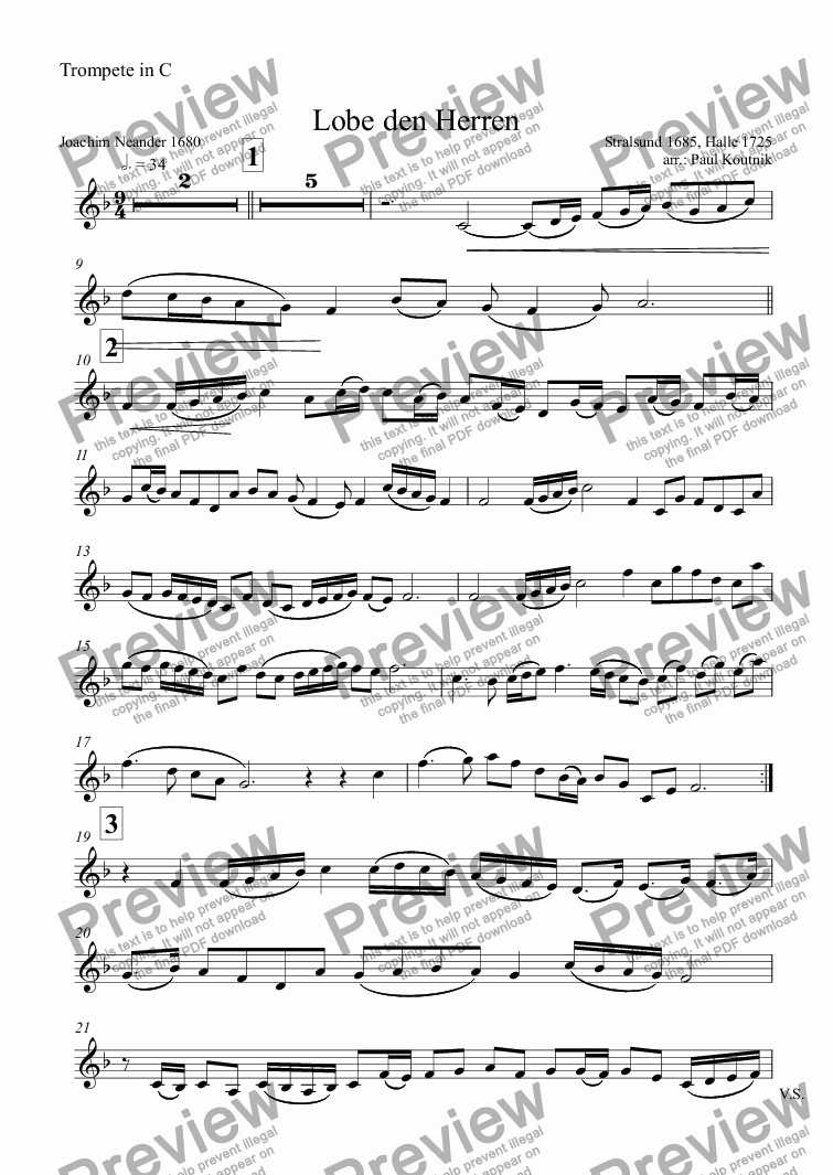 page one of the Trompete in C part from Lobe den Herren