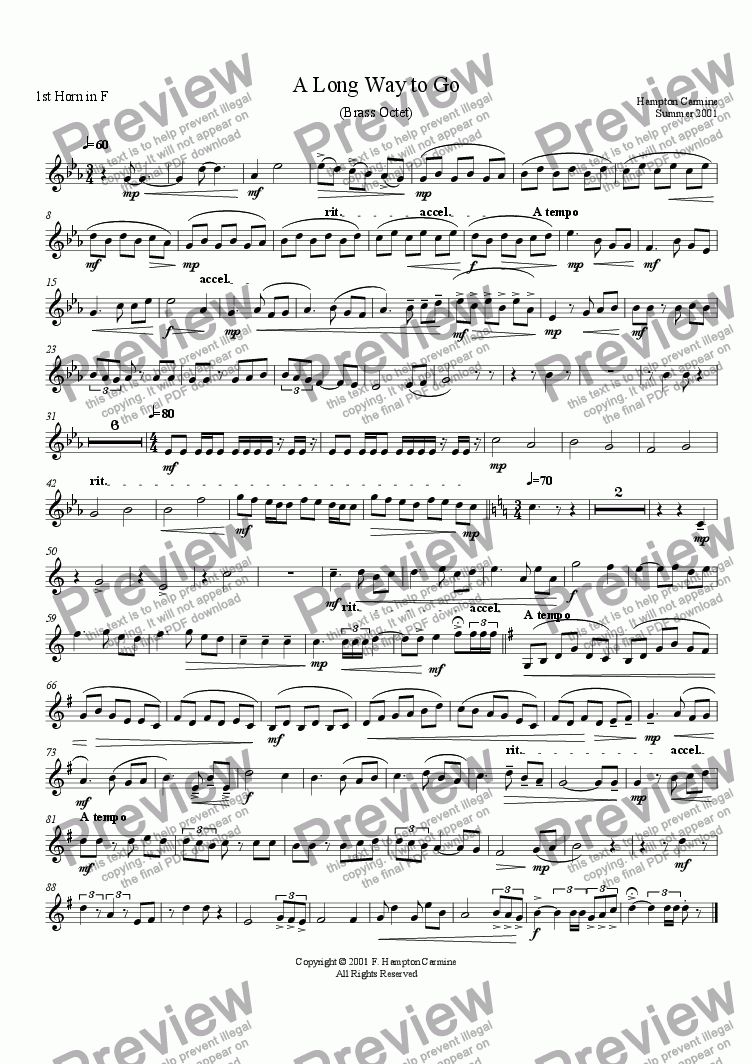 page one of the 1st Horn part from A Long Way To Go - Octet