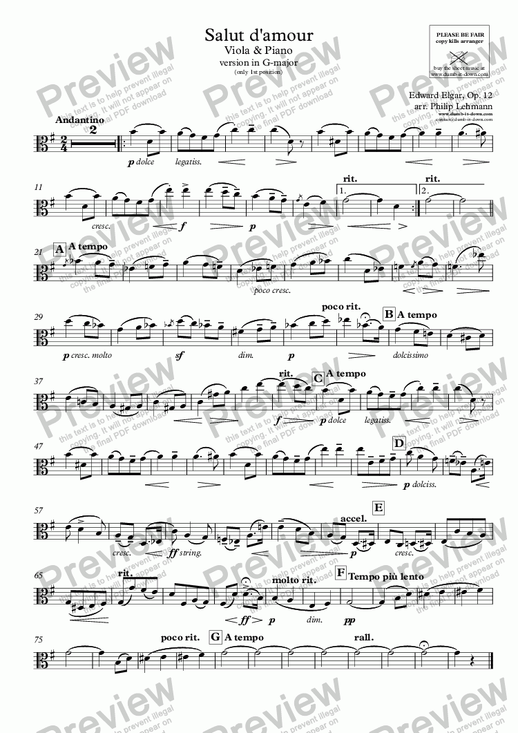 page one of the Viola part from Elgar, E. - Salut d'amour - version in G-major - for Viola (simplified - only 1st position) & Piano (simplified)