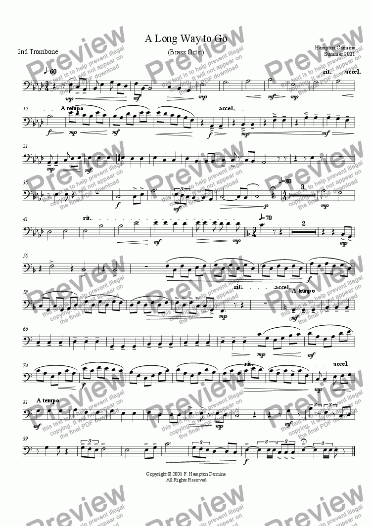 page one of the 2nd Trombone part from A Long Way To Go - Octet