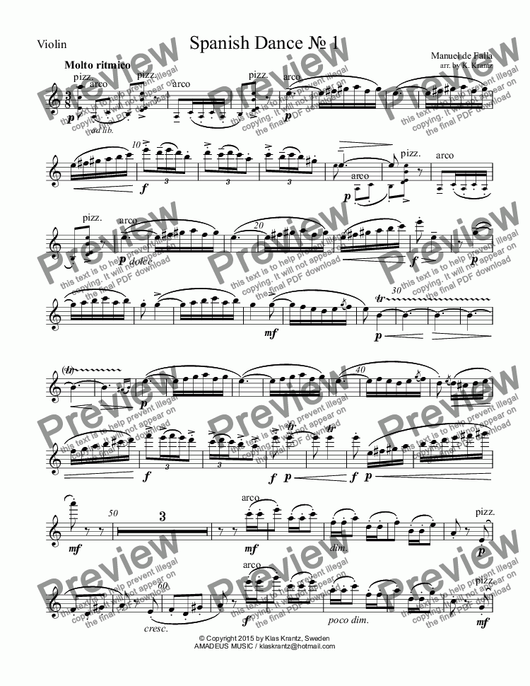 "page one of the Violin part from Spanish Dance No. 1 from ""La vida breve"" for piano trio"