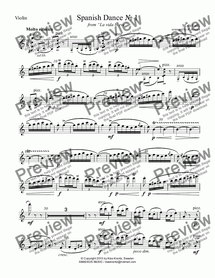 page one of the Violin part from Spanish Dance № 1 for violin, cello and guitar