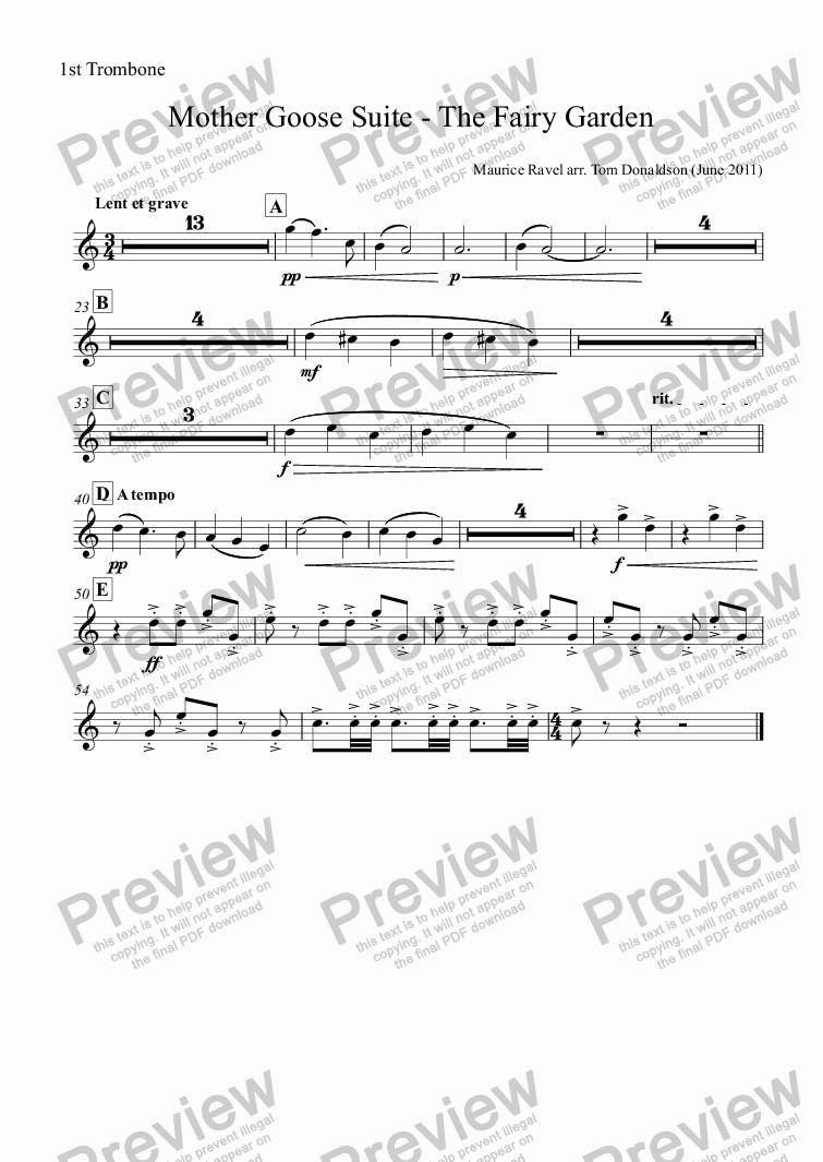 page one of the 1st Trombone part from BRASS BAND - Mother Goose Suite (ballet) - The Fairy Garden