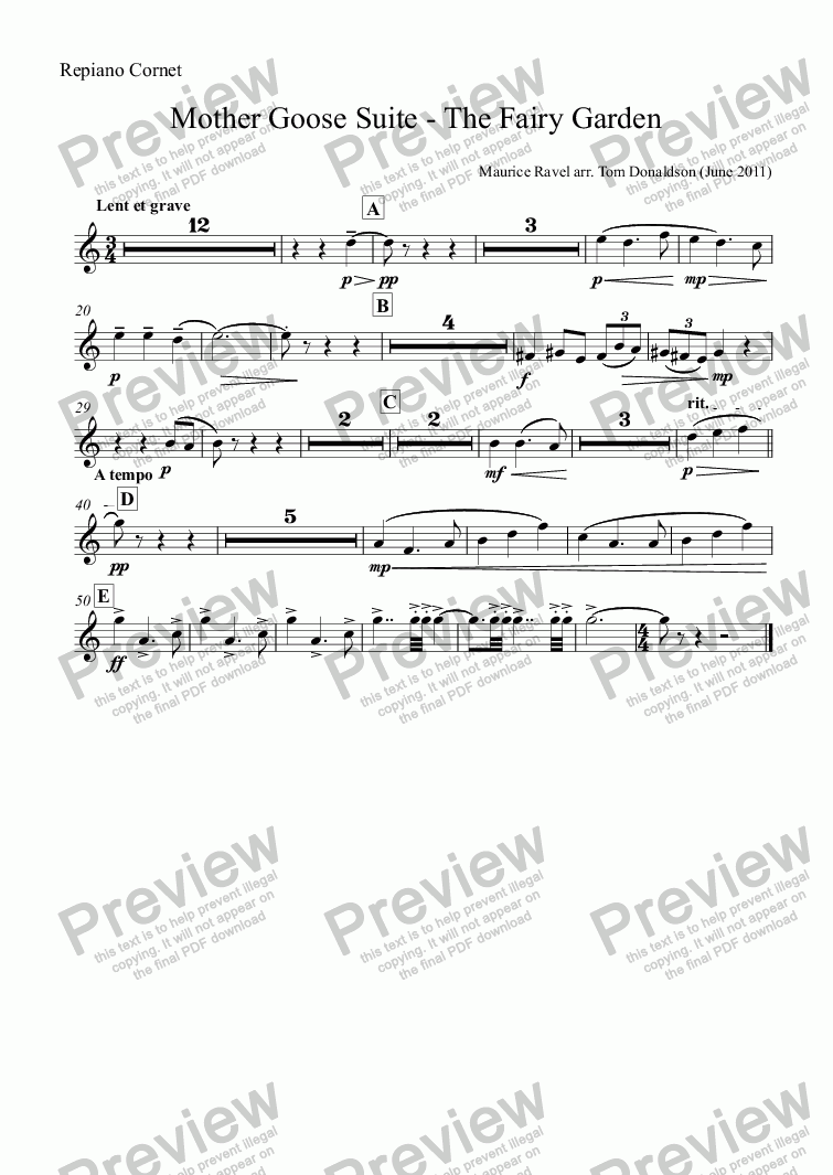 page one of the Repiano Cornet part from BRASS BAND - Mother Goose Suite (ballet) - The Fairy Garden