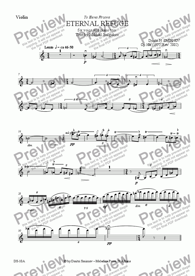 page one of the Violin part from ETERNAL REFUGE (Bulgakov) op10a. Voice, pf trio