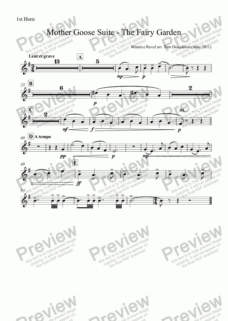 page one of the 1st Horn part from BRASS BAND - Mother Goose Suite (ballet) - The Fairy Garden