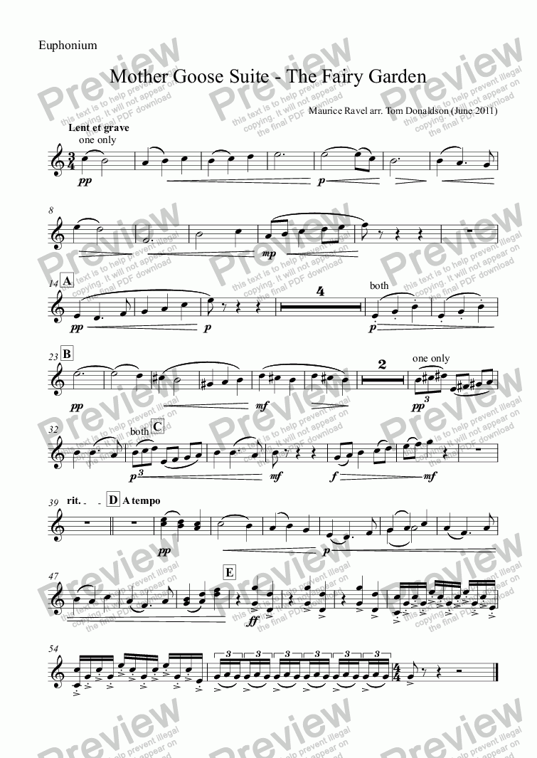 page one of the Euphonium part from BRASS BAND - Mother Goose Suite (ballet) - The Fairy Garden