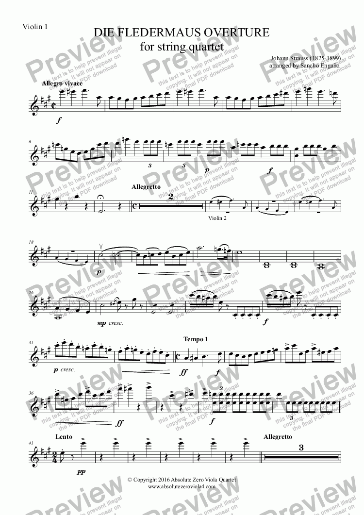 page one of the Violin 1 part from Strauss - DIE FLEDERMAUS OVERTURE - for string quartet