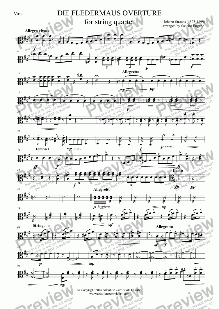 page one of the Viola part from Strauss - DIE FLEDERMAUS OVERTURE - for string quartet