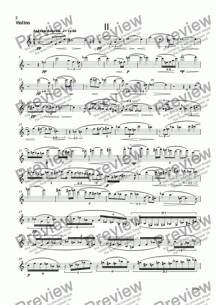 page one of the Violin part from TRI-O-TRI (Piano Trio no3) op142/2-3 (mov. II-III)