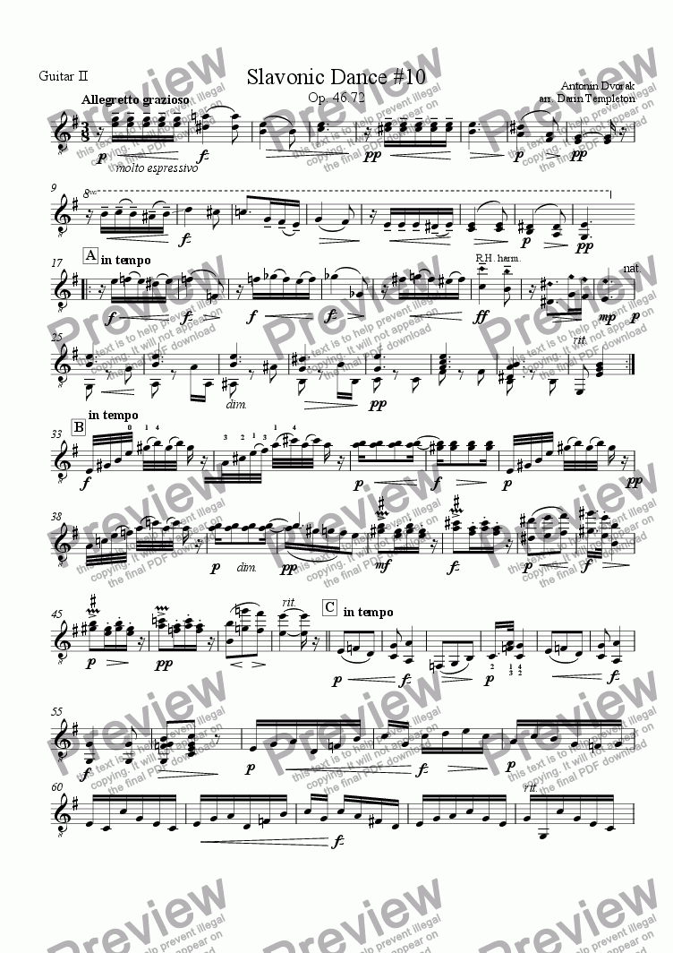 page one of the Guitar 2 part from Dvorak- Slavonic Dance no. 10(2) (Guitar Trio)