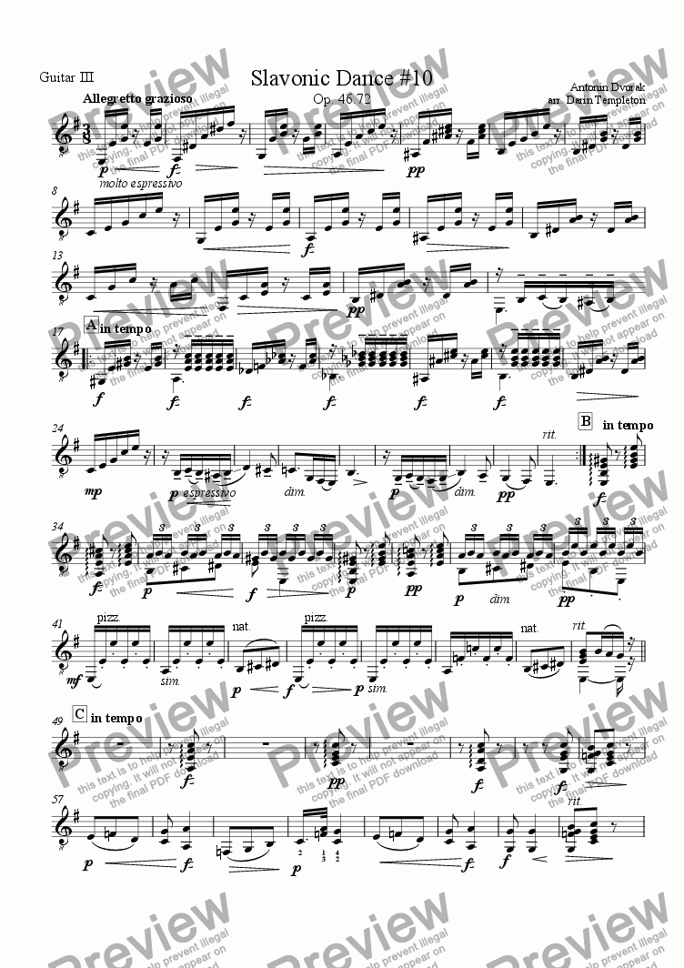 page one of the Guitar 3 part from Dvorak- Slavonic Dance no. 10(2) (Guitar Trio)