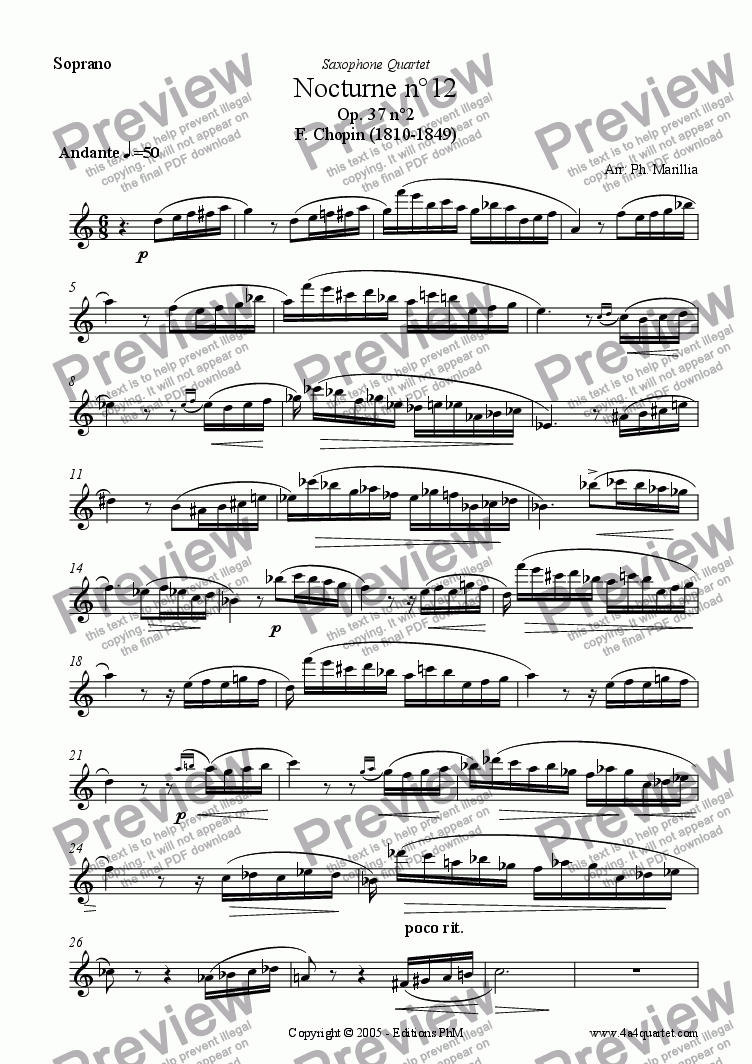 page one of the Soprano Sax part from Chopin - Nocturne n�12 (Sax Quartet)