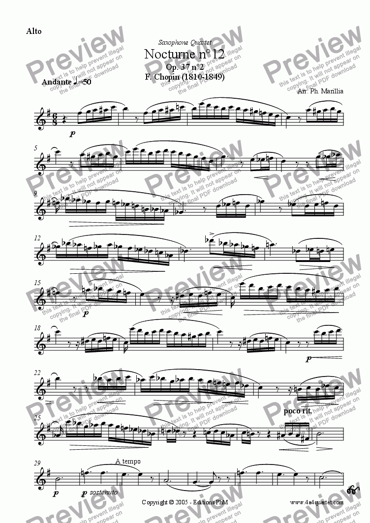 page one of the Alto Sax part from Chopin - Nocturne n�12 (Sax Quartet)