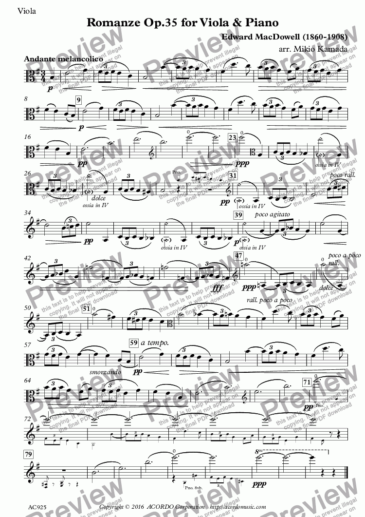 page one of the Viola part from Romanze Op.35 for Viola & Piano