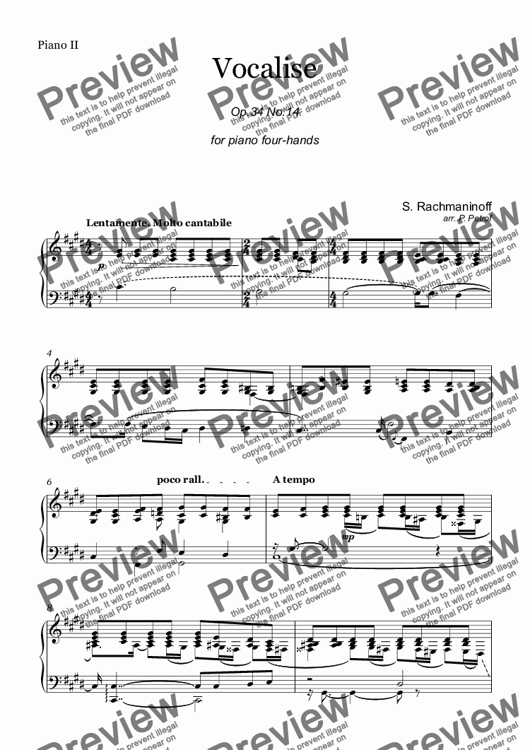 page one of the Piano II part from S. Rachmaninoff - VOCALISE Op.34 No.14 - piano 4 hands