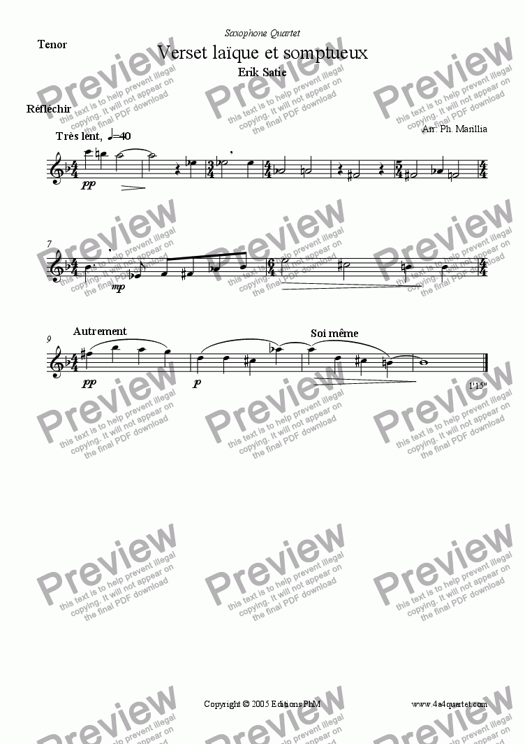 page one of the Tenor Sax part from Satie - Verset La�que et Somptueux (Sax Quartet)